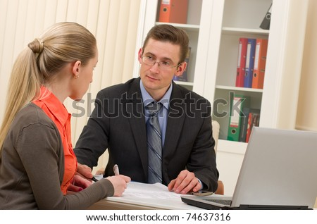 manager man and businesswoman on interview in the office