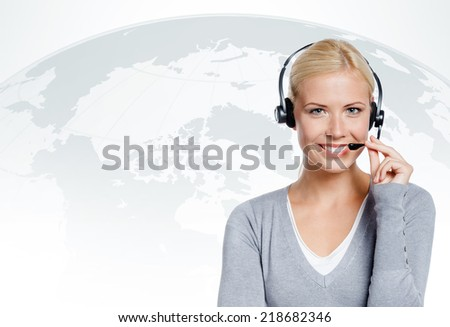 Manager of call center. concept of technology in today's business - stock photo