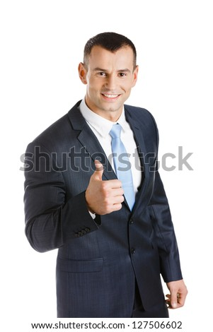 Manager thumbs up, isolated on white. Concept of problems solution - stock photo