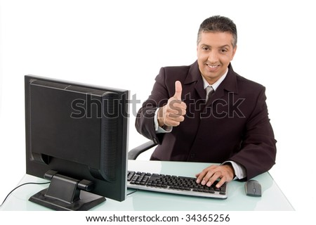 Manager working in his office - stock photo