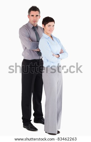 Managers standing up against a white background