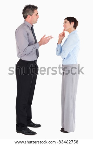 Managers talking to each other against a white background - stock photo