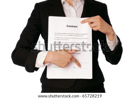 Managing director showing a place for date of signing the contract - stock photo