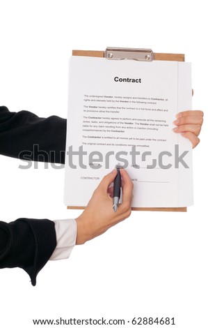 Managing director showing a place for signing the contract - stock photo
