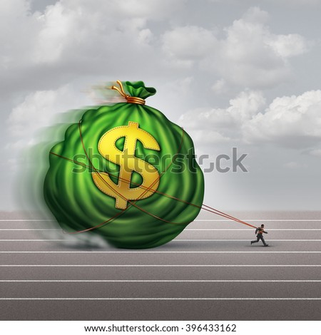 Managing wealth business concept as a businessman dragging a big bag of money as a financial metaphor for finance management or debt burden as a lender shackled to a huge debt. - stock photo