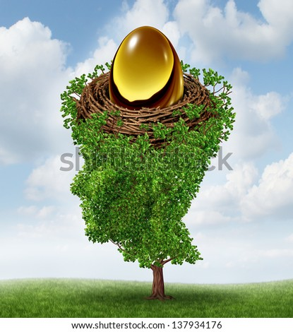 Managing your nest egg as a financial concept with a growing green tree in the shape of a human head supporting a nested investment for future retirement fund as a 401 K plan. - stock photo