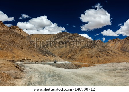 Manali-Leh road to Ladakh in Indian Himalayas with car. Ladakh, India - stock photo