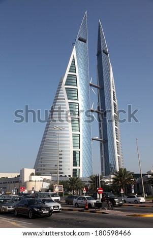 MANAMA, BAHRAIN - DEC 20: Bahrain World Trade Center Skyscraper. City of Manama. December 20th 2013 in Manama, Kingdom of Bahrain, Middle East - stock photo