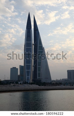 MANAMA, BAHRAIN - DEC 19: Bahrain World Trade Center Skyscraper. December 19th 2013 in Manama, Kingdom of Bahrain, Middle East - stock photo