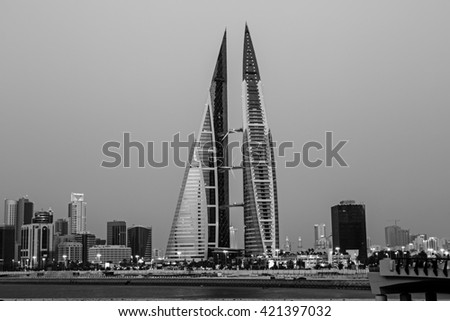 MANAMA, BAHRAIN - MAY 14, 2016: View of the World Trade Center and other high rise buildings in the city - Black and White Image - stock photo