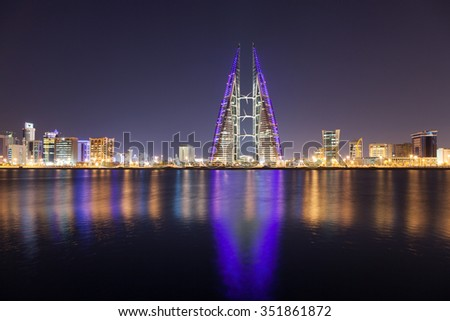 MANAMA, BAHRAIN - NOV 15: Manama City skyline with the World Trade Center in the middle. November 15, 2015 in Manama, Kingdom of Bahrain, Middle East