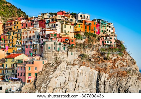 Manarola, Cinque Terre. Small fisherman village in Liguria, northern Italy. Famous touristic attraction Mediterranean Sea. - stock photo