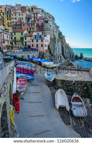 Manarola harbor - stock photo