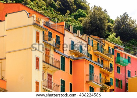MANAROLA, ITALY - MAY 5, 2016: Architecture of Manarola (Manaea),  La Spezia, Liguria, Italy. It's one of the lands of Cinque Terre, UNESCO World Heritage Site