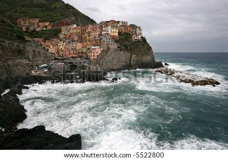 Manarola, one of the five Cinque Terre villages in Italy. - stock photo