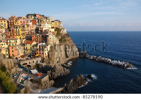 Manarola, one of the five Cinque Terre villages in Italy - stock photo