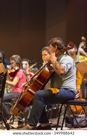 MANAUS, BRAZIL, MARCH 21: Orchestra with music school students repeating their daily musical session at the Amazon Theatre. Manaus, Amazonas Brazil 2015 - stock photo