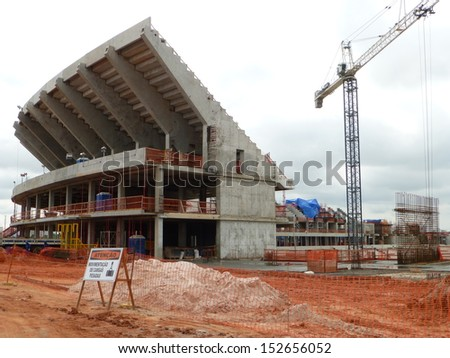 "Manaus,1 December 2012 construction of the future football stadium ""Arena da Amazonia"". It will host matches of the 2014 FIFA World Cup - stock photo"