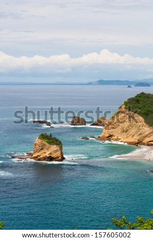 Manchalilla National Park on the Pacific Coast of Ecuador in the Manabi Province is home to Frailes beach and fantastic ocean views - stock photo