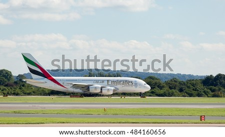 MANCHESTER AIRPORT -  AUGUST 29th 2016: Emirates Airbus A380 on the runway waiting for take off at Manchester Airport, UK August 29th, 2016