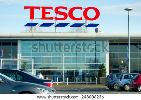 MANCHESTER-DEC 22: Tesco Store on Dec. 22, 2011 in Manchester(Oldham), United Kingdom, Great Britain, England, UK. Britain's biggest supermarket and biggest retailer in UK. - stock photo