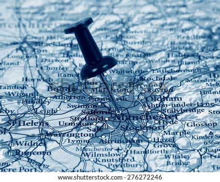Manchester destination in the map - stock photo