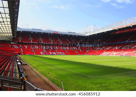 MANCHESTER, ENGLAND - AUGUST 20 : The Old Trafford stadium on AUGUST 20,2010 in Manchester, England. Old Trafford is home of Manchester United football club