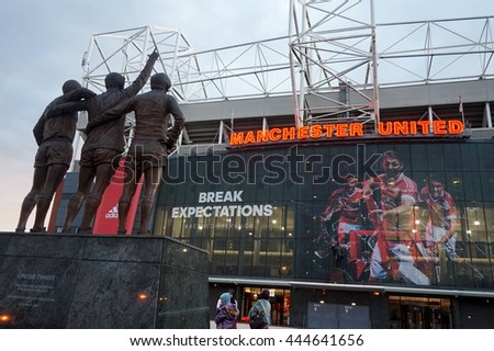 Manchester, England - September 19, 2015 : The east stand of Old Trafford football stadium, home of Manchester United.Old Trafford is the second largest stadium of any English football ground.