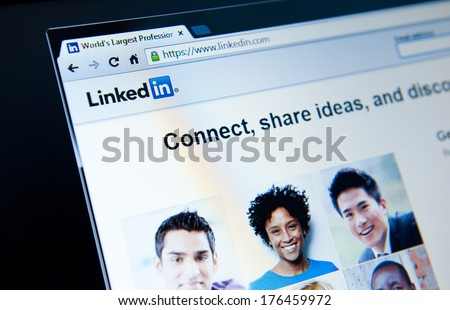 MANCHESTER-FEB 13: Linkedin website home page on Feb 13, 2014 in Manchester, UK. LinkedIn is a social networking website for people in professional occupations. The site is available in 20 languages. - stock photo