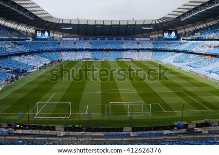 MANCHESTER, UK - APRIL 26, 2016: Etihad Stadium pictured prior to the UEFA Champions League semi-final game between Manchester City and Real Madrid at Etihad stadium. - stock photo