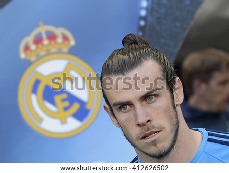 MANCHESTER, UK - APRIL 26, 2016: Gareth Bale of Real pictured prior to the UEFA Champions League semi-final game between Manchester City and Real Madrid at Etihad stadium. - stock photo