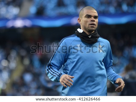 MANCHESTER, UK - APRIL 26, 2016: Pepe of Real pictured prior to the UEFA Champions League semi-final game between Manchester City and Real Madrid at Etihad stadium. - stock photo