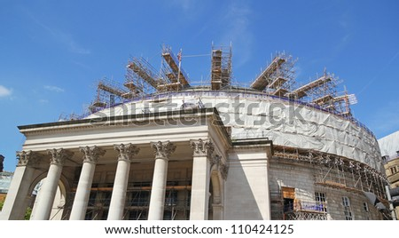 MANCHESTER, UK - AUGUST 10: The Central Library Building was designed in a neo-classical style by E. Vincent. Harris in 1930-4, 10 August, 2012. Central Library is due to reopen in Spring 2014