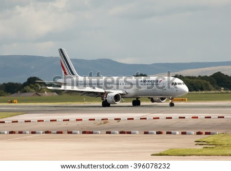 Manchester, United Kingdom - August 27, 2015: Air France Airbus A321 narrow-body passenger plane (F-GTAS) taxiing, Manchester International Airport, United Kingdom. - stock photo
