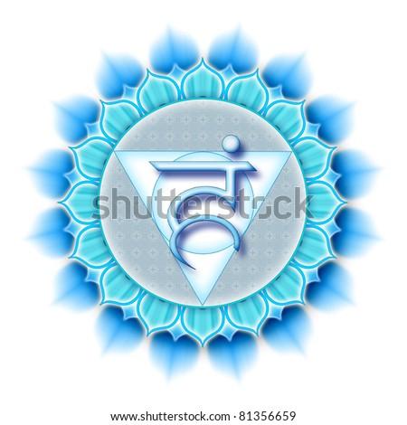 Mandala Chakra Vishuddha isolated - stock photo