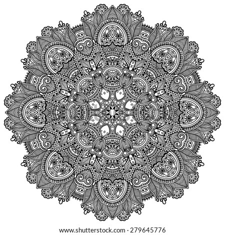 mandala, circle decorative spiritual indian symbol of lotus flower, round ornament pattern, black and white  raster version illustration - stock photo