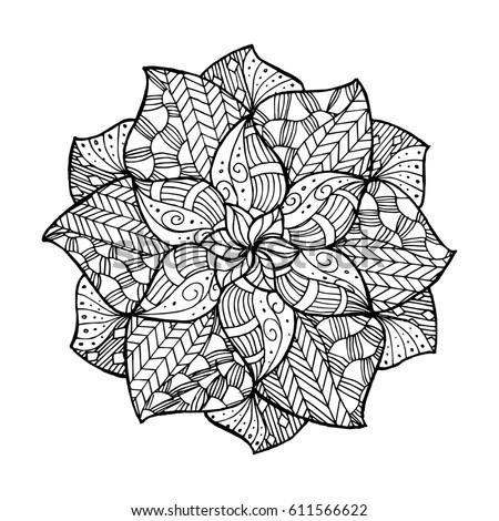 Zentangle Flower Mandala Coloring Book Adults Stock Vector ...