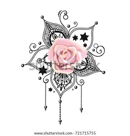 mandala tattoo hand drawn lotus pental stockillustration. Black Bedroom Furniture Sets. Home Design Ideas