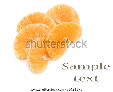 Mandarin citrus fruit slices on a pure white background with space for text - stock photo