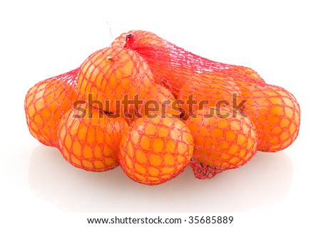 Mandarin in red net isolated on white background