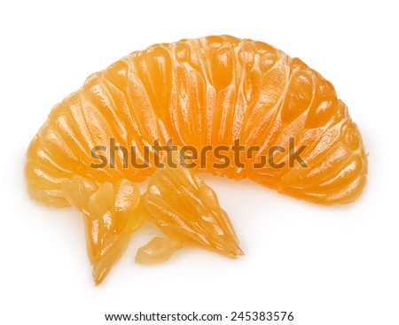 Mandarin orange citrus fruit slice isolated.