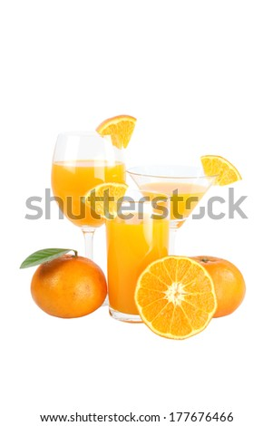 Mandarin oranges and glass isolated on white background.