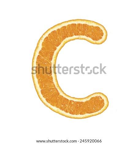 Mandarine alphabet isolated on white background (Letter C)  - stock photo