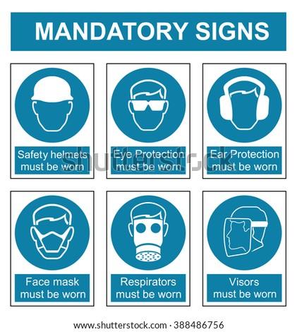 Mandatory safety sign set isolated on white background - stock photo