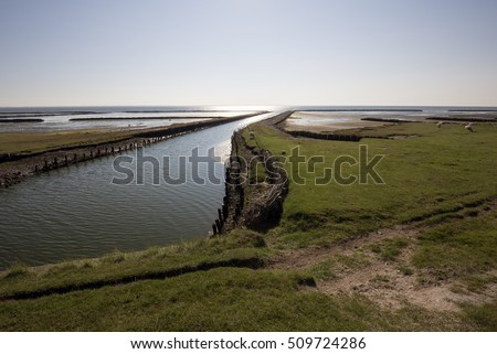Mando where the lock goes through the dike into the Wadden Sea. Danish national park under UNESCO World Heritage.
