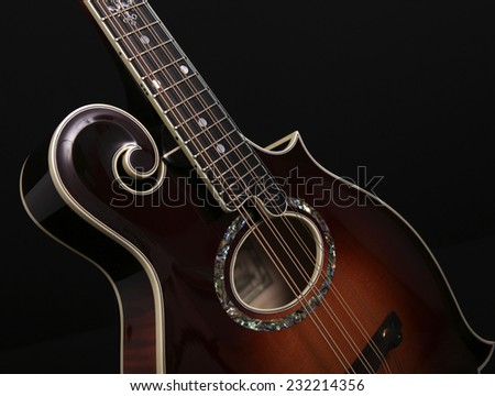 Mandolin with pearl decoration isolated on black background - stock photo