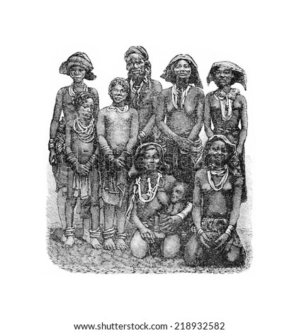 Mandombe Women of Congo, Central Africa, engraving based on the English edition, vintage illustration. Le Tour du Monde, Travel Journal, 1881 - stock photo