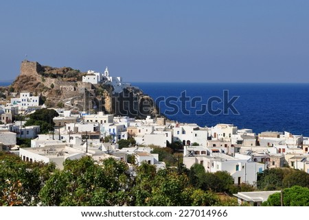 Mandraki town on island Nissyros,Greece - stock photo