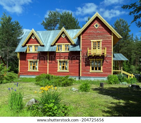 Mandrogi, a crafts village on the Svir rive. Russia's Rural Past in this Village with Wooden Architecture. Russia, Leningrad Region, Podporozhsky. - stock photo