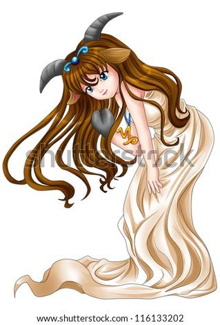 Manga style illustration of zodiac symbol, Capricorn - stock photo